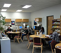 Students using the career center.