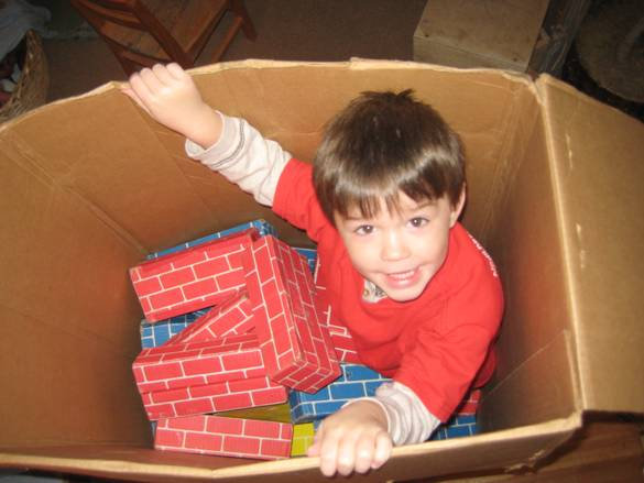 Child sitting in a cardboard box