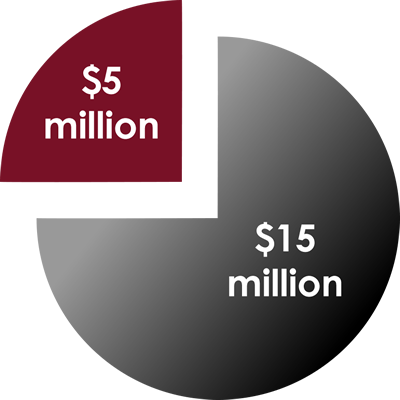 Pie chart showing $5 million and $15 million