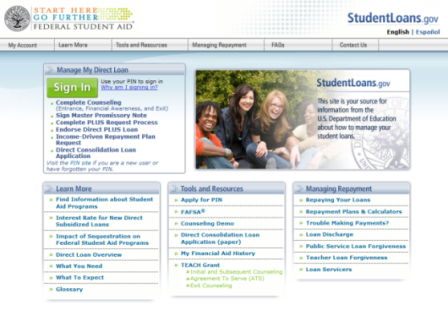 StudentLoans.gov website