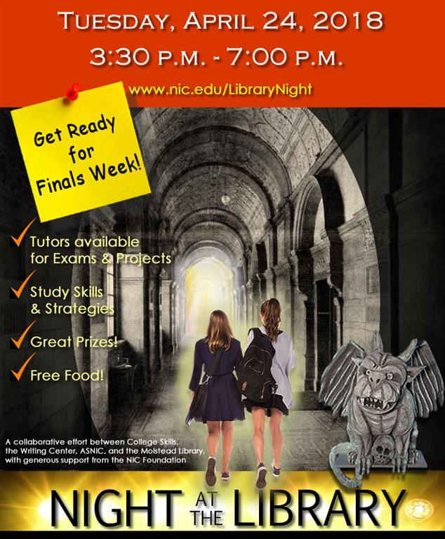 Night at the Library poster of students walking into gothic library