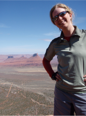 Jessica with desert view in the background.