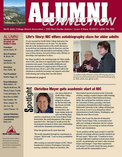 cover page of alumni newsletter