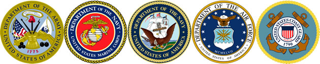 Service Logos - Army, Navy, Air Force, Marines, Coast Guard
