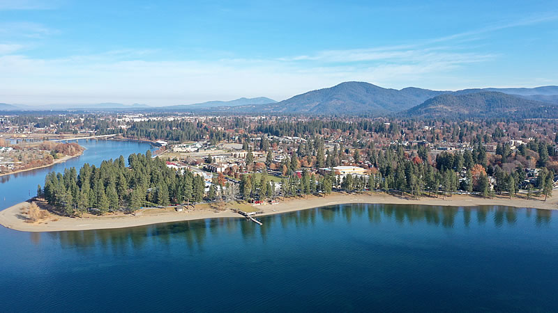aerial view of NIC campus and city of Coeur d'Alene