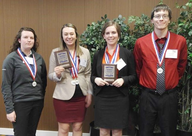 Four NIC students who placed at the state Business Professionals of America (BPA) competition