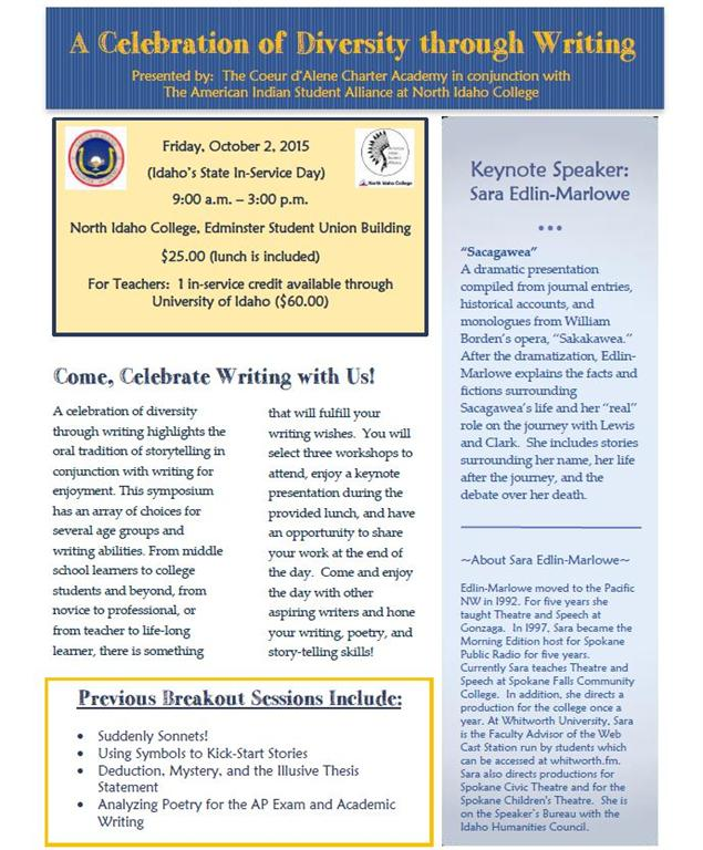 Celebration of Diversity through Writing Symposium flyer