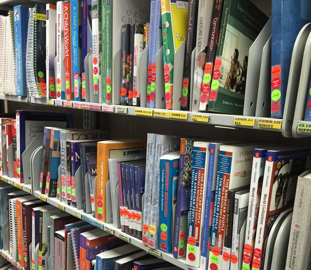 course reserves shelf at check out desk