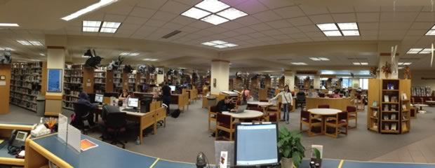 Panoramic view of Molstead Library interior