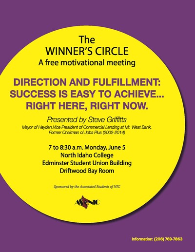 The Winner's Circle - Direction and Fullment:Success is easy to achieve. June 5th, 7-8:30 a.m.