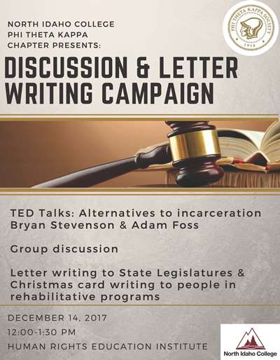 Phi Theta Kappa Presents Discussion & Letter Writting Campaign