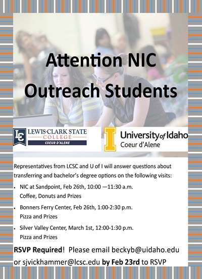 Representitives fo LCSC and U of I will be at the outreach centers