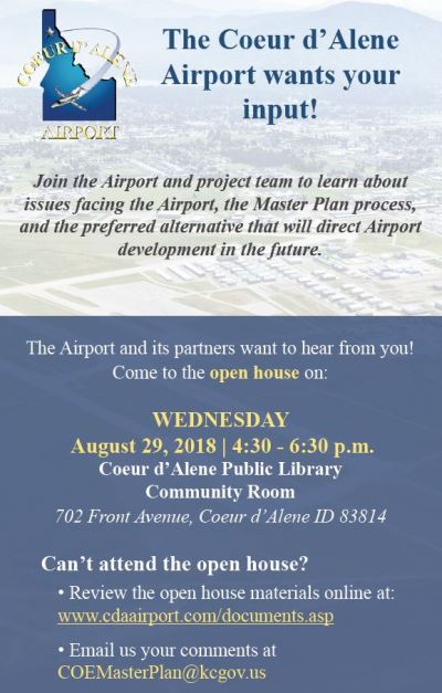 The Coeur d'Alene Airport wants your input