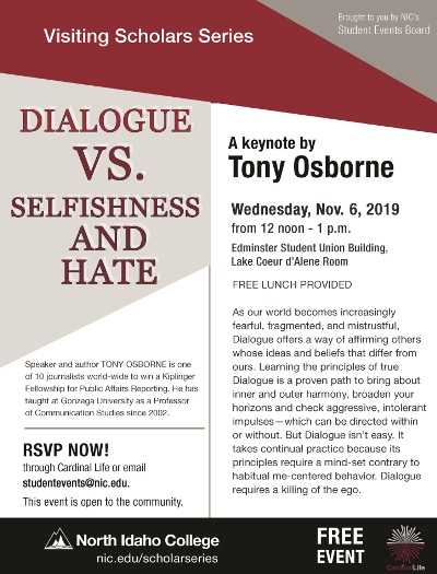 Dialogue VS. Selfishness and hate