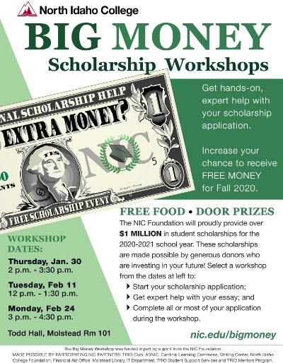 Big Money Scholarship Workshop Jan 30